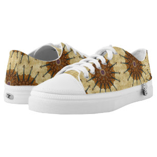 Violin Sunflowers on Gold-Striped Backdrop Low-Top Sneakers
