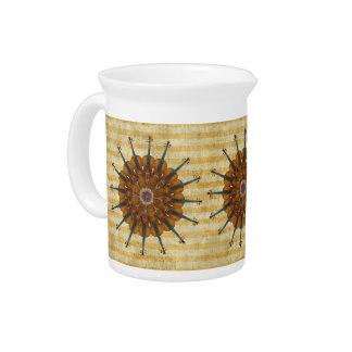 Violin Sunflowers on Golden Stripes Creamer Drink Pitcher