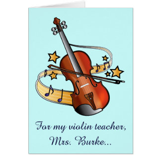 Violin Teacher Thank You Name Customizable Card
