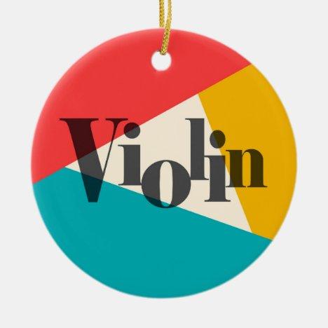 Violin Tri-Color - Turquoise Coral Gold Ceramic Ornament