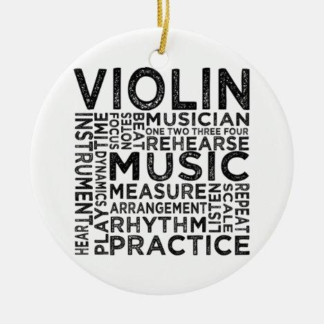 Violin Typography Ceramic Ornament