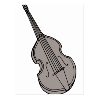 Violin Upright Bass Guitar Graphic Postcard