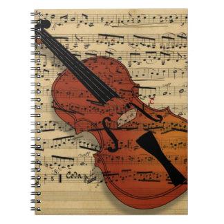 Violin Vintage Music Spiral Notebook