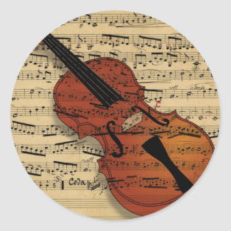 Violin Vintage Music Round Stickers