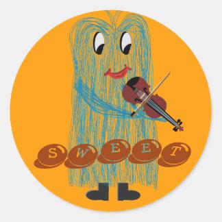 Violin & Viola - Get a Warm Fuzzy Feeling Classic Round Sticker