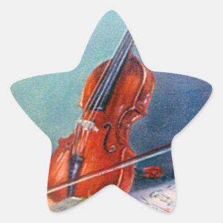 Violín/Violin Pegatina En Forma De Estrella