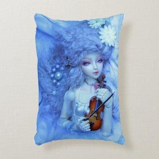 Violin Virtuoso Doll in Blue Accent Pillow