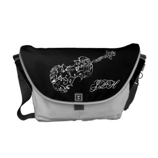 Violin White Line Drawing, Customizable Initials Courier Bag