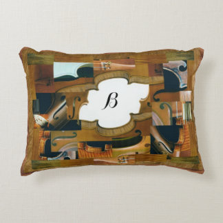 Violin Window with Customizable Monogram Accent Pillow