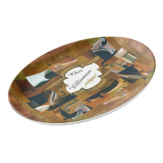 Violin Window with Customizable Text Porcelain Serving Platter