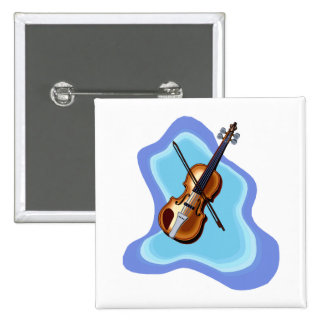 Violin with Blue background graphic image 2 Inch Square Button