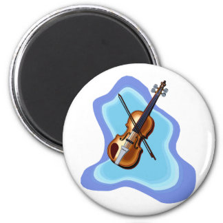 Violin with Blue background graphic image Refrigerator Magnets