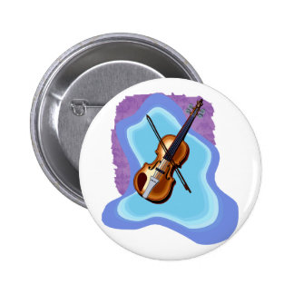 Violin with Blue background graphic image Pinback Button