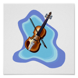 Violin with Blue background graphic image Poster