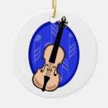Violin With Blue Notes Background Ornament
