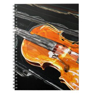 VIOLIN  WITH CASE ABSTRACT SPIRAL NOTE BOOK