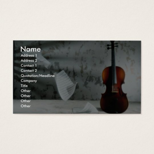 Violin with music sheets floating business card