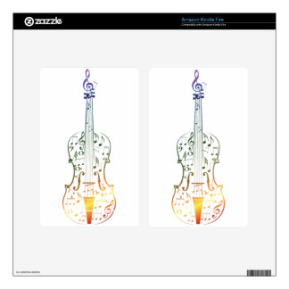 Violin with Notes 4 Decal For Kindle Fire