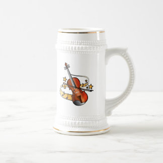 Violin with Notes and Stars Beer Stein
