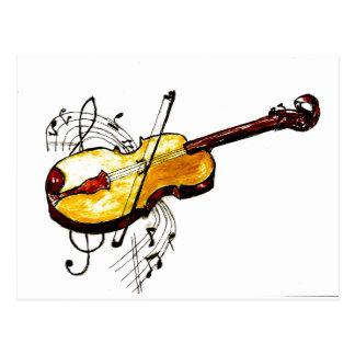 Violin with Notes Sketch Postcard