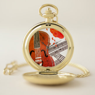 Violin with Rose and Sheet Music Pocket Watch