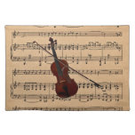 Violin With Sheet Music Background Cloth Place Mat