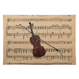 Violin With Sheet Music Background Placemat