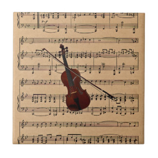 Violin With Sheet Music Background Small Square Tile