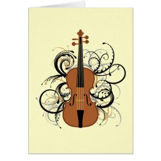 Violin with Swirls Card