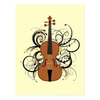 Violin with Swirls Postcard