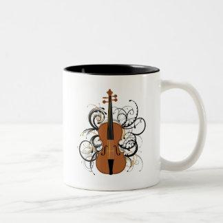 Violin with Swirls Two-Tone Coffee Mug