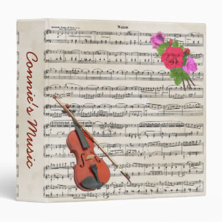 Violin With Vintage Sheet Music and Roses Binder