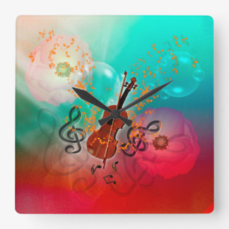 Violin with violin bow square wall clock