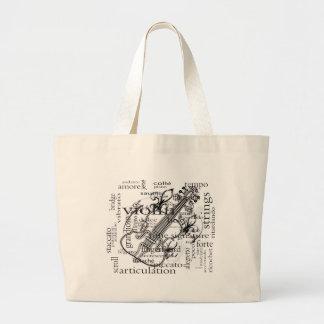 violin with word cloud large tote bag