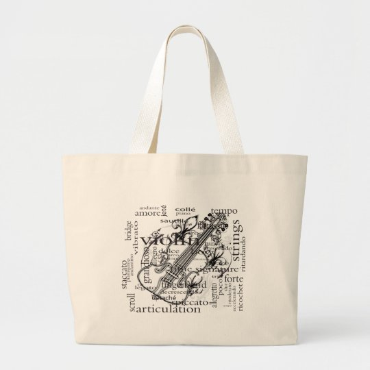 violin with word cloud large tote bag
