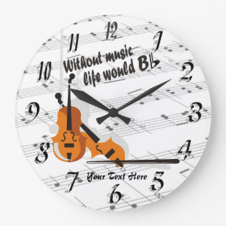 Violin - Without Music Life Would B Flat Clock