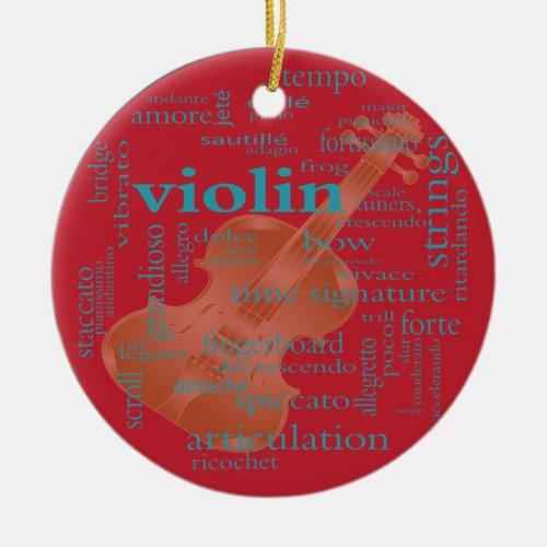 violin word cloud graphic design by Artinspired Ceramic Ornament