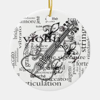 violin word cloud ornament