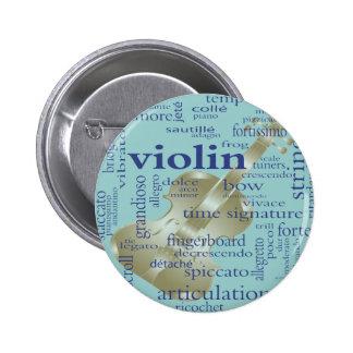 Violin Words Pinback Button