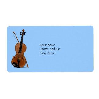 Violín y arco etiqueta de envío