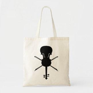 Violín y ballestas cráneo y bandera pirata bolsas de mano