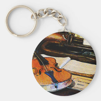 Violín y bugle llavero redondo tipo pin