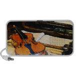 Violín y bugle notebook altavoces