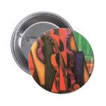 Violín y guitarra de Juan Gris, arte del cubismo Pin Redondo 5 Cm