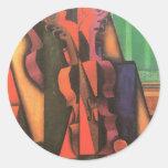 Violín y guitarra de Juan Gris, cubismo del Pegatina Redonda