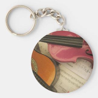 Violín y guitarra rosados llavero personalizado