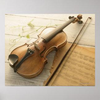 Violín y partitura impresiones