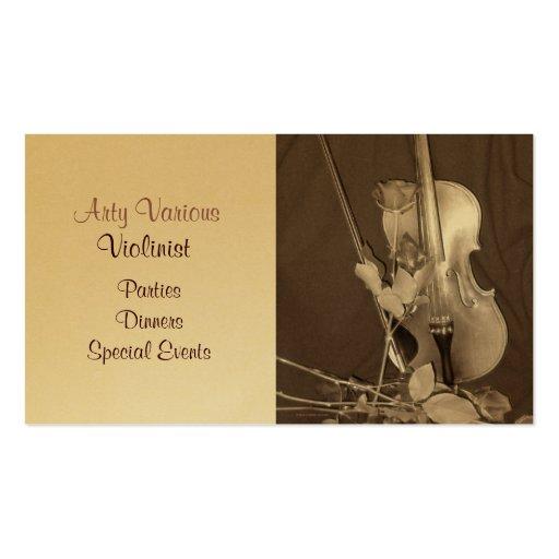 Violín y rosas del vintage plantilla de tarjeta personal