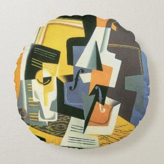 Violín y vidrio de Juan Gris, cubismo del vintage Cojín Redondo