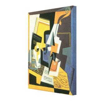 Violín y vidrio de Juan Gris, cubismo del vintage Lienzo Envuelto Para Galerías